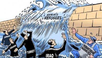 تصوير تدفق اللاجئين السوريين في رسوم كاريكاتيرية سياسية؛  مشكلة من؟